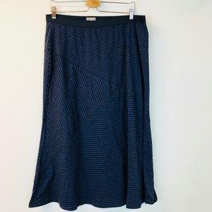 J. Jill Skirt Blue Black Batik Blust L Maxi NEW